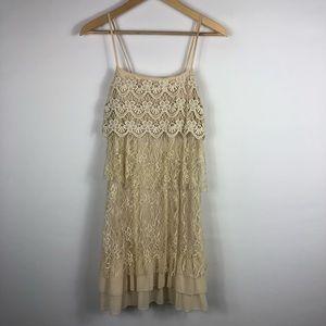 Sleeveless Altar'd State Tan & Cream Lace Dress